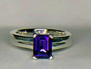 Tiffany & Co. 1.75 Carat Emerald Cut Natural Amethyst Sterling Silver Ring