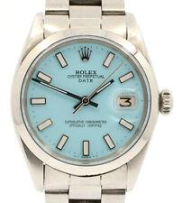 Мужские Винтажные Rolex Oyster вечный дата 34 мм синий циферблат из нержавеющей стали часы
