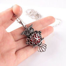 Owl Locket Necklace for Perfume Fragrance Aromatherapy Essential Oil Diffuser