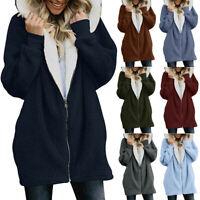 Womens Ladies Fluffy Coat Long Hooded Zipper Winter Warm Pockets Jacket Outwear