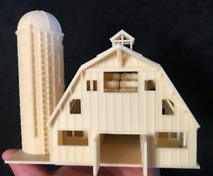 Miniature HO Scale Old West #7 Wood Color Barn+Silo Assembled Includes Interiors