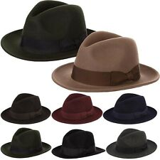 New Men's Pure Wool Fedora Hat With Satin Lining, Flat Brim Gambler Hat