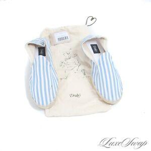 NIB #1 MENSWEAR Drakes Made Spain White Blue Stripe Canvas Espadrille Shoes 42