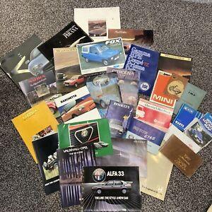 Job Lot Vintage Car Brochures & Handbooks 60s 70s 80s Vauxhall Aston Martin Fiat
