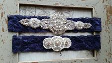 SALE-Wedding Garter, Rhinestone Garter Set,Navy Blue Lace, Keepsake &Toss Garter