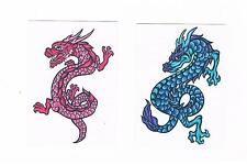 2 x mythical dragon Temporary Tattoo - 1 x Red ,1 x Blue - Suits Kids or Adults