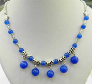 Ladies Jewelry Tibetan Silver Necklace Blue Jade Pendant Necklace Jewellery
