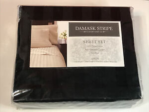 Charter Club 500 TC Damask Stripe TWIN Sheet Set Black New Tags