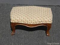 Vintage French Country Provincial Tan Floral Footstool ~ Made in Italy