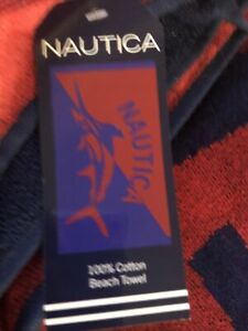 """Authentic 100% Cotton Nautica Beach Towel 36x68 """" New MARLIN Red Navy"""