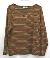 Cato Womens Plus Size 18/20W Cotton Blend Long Sleeve Scoop Neck Striped T-Shirt