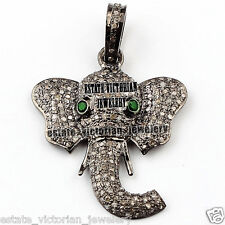 Antique 4.37ct Pave Rose Cut Diamond Emerald Silver Lord Ganesha Pendant Jewelry