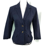 Cynthia Rowley Womens Dark Blue Cotton Eyelet Two Button Jacket Blazer M NWT
