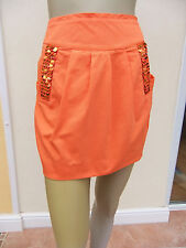 RIVER ISLAND - WOMENS ORANGE SEQUIN TRIM MINI SKIRT - SIZE 10