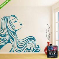 Wall Vinyl Decal Mural Sticker Beautyfull Girl Hair Design Bedroom (Z096)