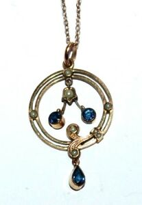 Edwardian rolled gold seed pearl blue paste Art Nouveau pendent & chain