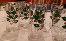 Christmas Red Green Holly Holiday  Set Of 12 Glasses