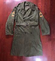 1953 Korean War US Army OG107 Overcoat w/ Belt  Trench Coat Regular Medium