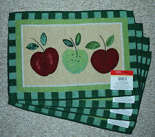 SET OF 4 COTTON TAPESTRY PLACEMATS/APPLES/ REDS/GREENS/TAN/APPLE THEME/NWT