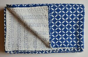 Indien Traditional Cotton Kantha Quilt Throw Blanket Bedspread Twin Size Kantha