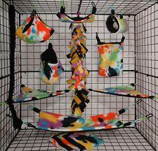 New listing Bright Paint Splat*15 Pc Sugar Glider Cage set * Rat * double layer Fleece