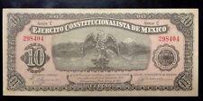 {BJTAMPS}1914 10 Pesos S525a Ejercito Constitucionalista de Mexico VF/XF