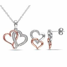 Amour 2-Tone Sterling Silver 1/5ct TW Diamond Heart Earrings & Necklace Set