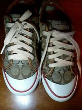 Collectible Coach tennis shoes brown leather size 6 women's pre-owned sneakers