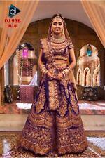 Blue Velvet Lehenga Choli Designer Bollywood Indian Party Wear Weddding lengha