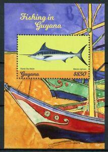 Guyana Fish Stamps 2018 MNH Fishing Atlantic Blue Marlin Fishes Marine 1v S/S