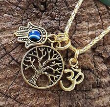 Good LIFE Karma Gold Tone Compassion TREE OF LIFE OM HAMSA EVIL EYE Necklace