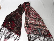 NEW Ralph Lauren Purple Label BURGUNDY RED Paisley Velour Silk Long SCARF £380