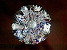 Vintage Gentile Art Glass Paperweight Crimp Bubble Frit LARGE