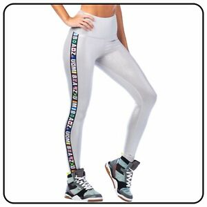 Zumba Fitness Gym Silver Metallic High Waisted Ankle Leggings Ladies Large