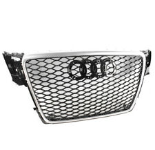 BLACK/SILVER TRIM MESH RS4 STYLE UPPER HEX GRILLE FOR 2009-2012 AUDI A4/S4 B8 8T