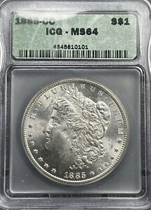 PARTING OUT SET! IGC MS64 1885-CC MORGAN SILVER DOLLAR. CARSON CITY KEY DATE!