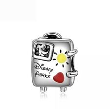 Disney Parks Suitcase Luggage European Charm With Pink Gift Pouch - Silver Tone