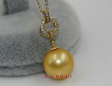 Australia Top quality REAL round golden 11-12MM SOUTH SEA PEARL Pendant 14K GOLD