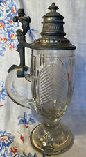Antique Cut Glass Stein with Pewter Lid, Circa 1900, Cherub thumblift