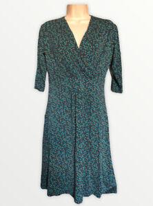 Hobbs Dress Multicolored Pattern Size UK 10 V Neck Jersey Casual