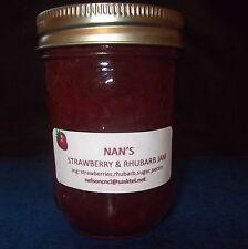Nan's Jam Jelly Preserves  6 jars Strawberry & Rhubarb Jam