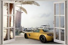 Cheap 3D Window view Gold Mercedes Benz in Dubai Wall Sticker Wallpaper 626
