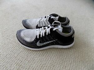 WOMENS 10 NIKE FREE 4.0 FLYKNIT RUNNING SHOES BLACK WHITE GREY ORCA 631050 010