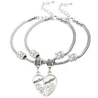 1Set Mother Daughter Love Heart Bangle Bracelet Charm Family Jewelry Gift