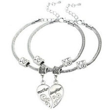 2PCS/Set Mother Daughter Love Heart Bangle Bracelet Charm Family Jewelry Gift FT