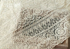 "Lace Fabric Ivory Organza Cotton Round Flower Embroidery Wedding Veil 51.1"" wide"