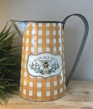 New listing New Primitive Country Mustard Check Daisy Busy Honey Bee Hive Pitcher Can Vase