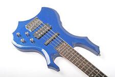 Santander 5-Saiter Metal E-Bassgitarre H/S PU's Tasche Kabel Gurt blau-metallic