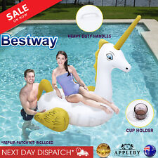 Giant Bestway Inflatable Unicorn Blow Up Pool Ride On Toy Swimming Float Raft