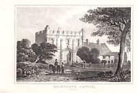 1840 Vittoriano Stampa ~Mackworth Castle~ Derbyshire